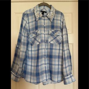 Blue plaid INC blouse